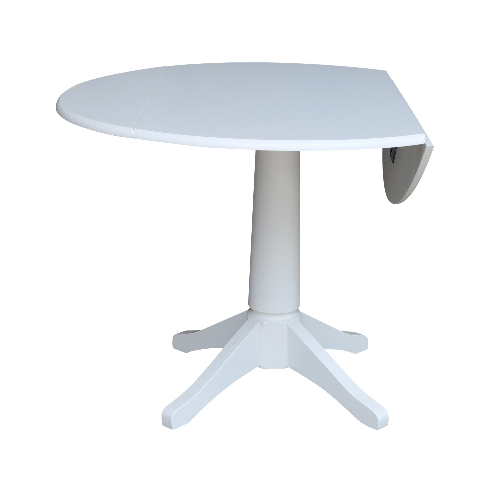 42 In Round Top Dual Drop Leaf Pedestal Table White Overstock 24204641