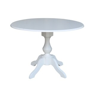42 In Round Dual Drop Leaf Pedestal Table - White