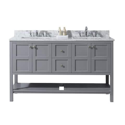 "Winterfell 60"" Double Bathroom Vanity Set in Grey"