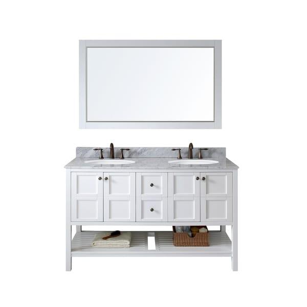 "Winterfell 60"" Double Bathroom Vanity Set in White"