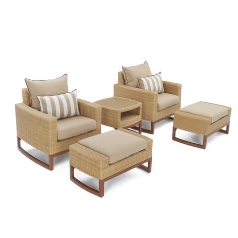 Mili 5pc Club Chair & Ottoman Set in Maxim Beige by RST Brands