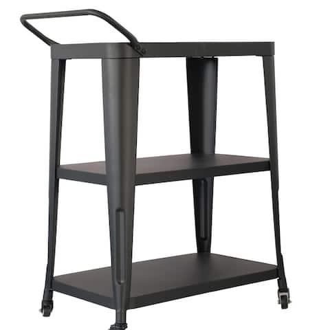 Harold 3-Tiered Industial Mobile Metal Bar/ Dining Cart