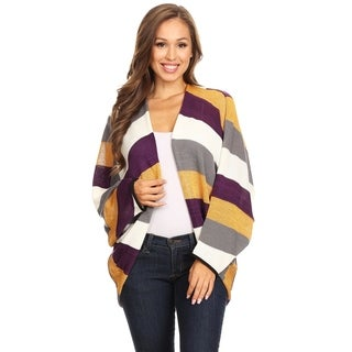 Women's Casual Striped Loose Basic Sweater Cardigan