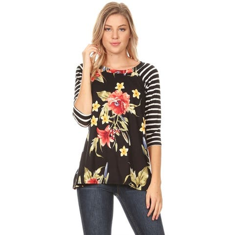 Women's Lightweight Striped Sleeve Floral Pattern Tunic Shirt