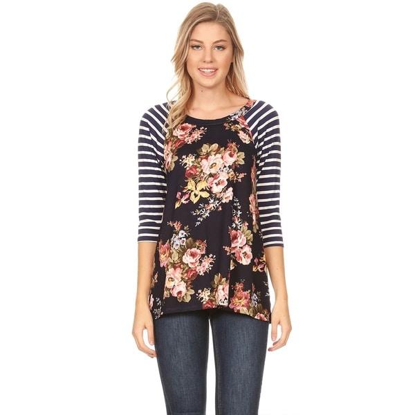 Women's Lightweight Striped Sleeve Floral Pattern Tunic Shirt
