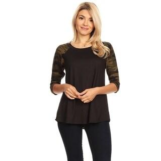 Women's Casual Solid Body Pattern Lightweight Raglan Tunic
