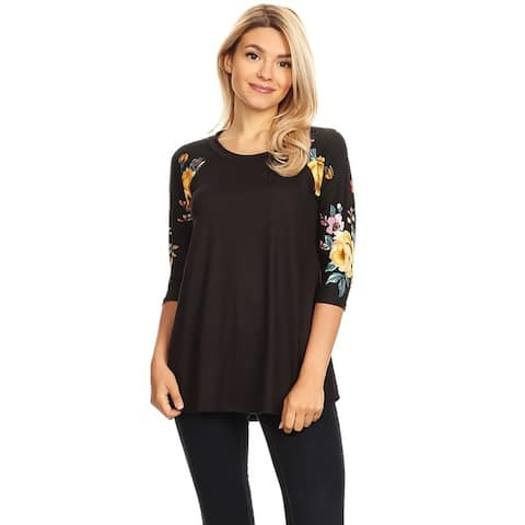 Women's Casual Solid Body Pattern Lightweight Raglan Tunic
