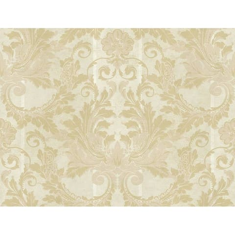 Aida Damask W/Stripe Wallpaper 27 in. x 27 ft. 60.75 sq.ft.