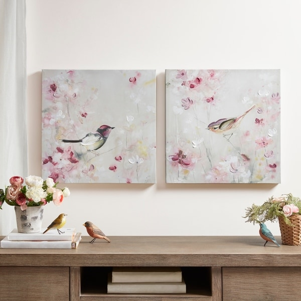 Madison Park Lovely Birds Multi 30-Percent Hand Brush Embellished Canvas-(Set of 2) - Multi-color