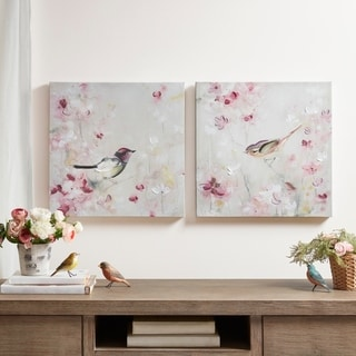 Madison Park Lovely Birds Multi 30-Percent Hand Brush Embellished Canvas-(Set of 2) - Multi-color
