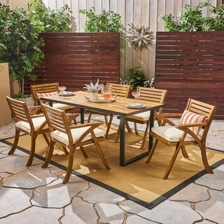 Lovell Outdoor 6-Seater Rectangular Acacia Wood and Iron Dining Set by Christopher Knight Home