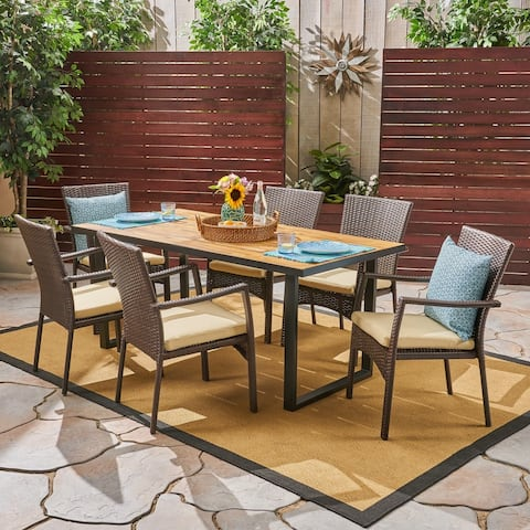 Powell Outdoor 6-Seater Rectangular Acacia Wood and Wicker Dining Set by Christopher Knight Home