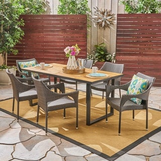 Welch Outdoor 6-Seater Rectangular Acacia Wood and Wicker Dining Set by Christopher Knight Home
