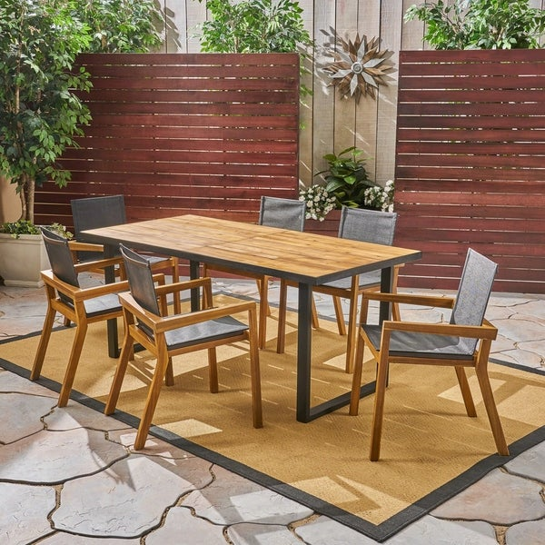 Castano Outdoor Acacia Wood 7 Piece Dining Set with Mesh Seats by Christopher Knight Home