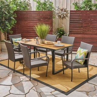 Banner Outdoor 6-Seater Rectangular Acacia Wood and Wicker Dining Set by Christopher Knight Home