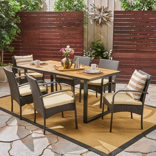 Heron Outdoor 6-Seater Rectangular Acacia Wood and Wicker Dining Set by Christopher Knight Home