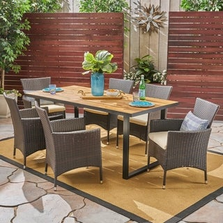 Hartland Outdoor 6-Seater Rectangular Acacia Wood and Wicker Dining Set by Christopher Knight Home