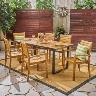 Alderson Outdoor 6-Seater Rectangular Acacia Wood Dining Set by Christopher Knight Home
