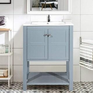 Harper&Bright Designs 24-inch Single Bathroom Vanity Cabinet Storage Under Mount Porcelain Sink