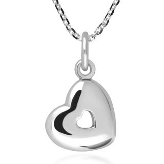 Handmade Cute Little Tilted Heart Cut Out Sterling Silver Necklace Thailand
