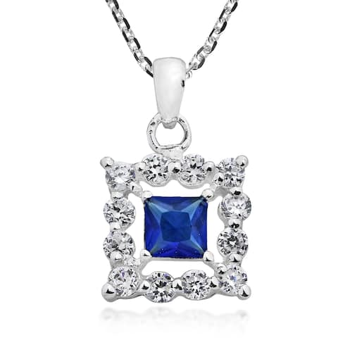 Handmade Square Framed Cubic Zirconia Sterling Silver Necklace (Thailand)