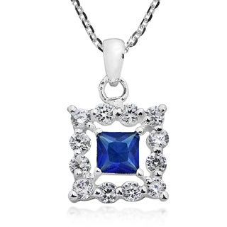Handmade Square Framed Cubic Zirconia Sterling Silver Necklace Thailand