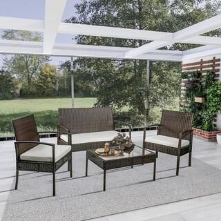 Merax 4-piece Outdoor Rattan Furniture Set Patio Wicker Cushioned Set Garden Sofa Set
