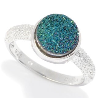 Pinctore Sterling Silver Round Drusy Textured Ring