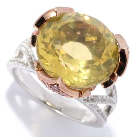 Pinctore Sterling Silver 11.14ctw Lemon Quartz & Multi Gemstone Ring
