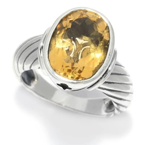 Sterling Silver 5.00ctw Oval Citrine Rope Textured Ring