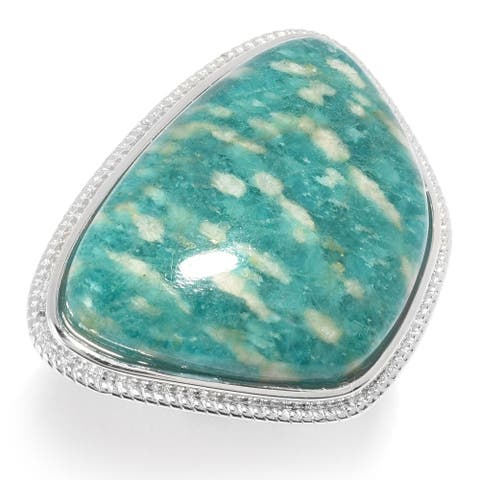 Pinctore Sterling Silver 27 x 19mm Amazonite Ring