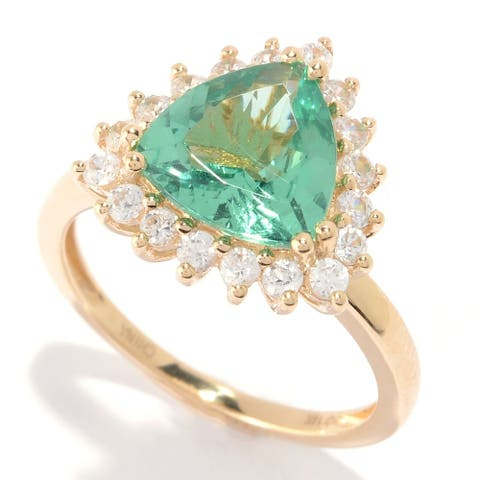 Pinctore 14K Gold 3.28ctw Trillion Shaped Green Apatite & White Zircon Ring