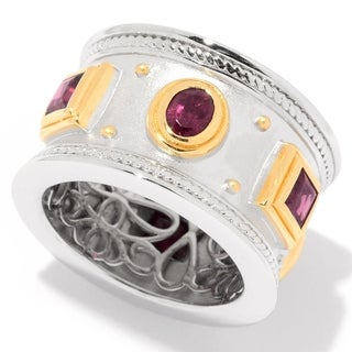Pinctore Sterling Silver Two-tone Rhodolite Etruscan Wide Band Ring