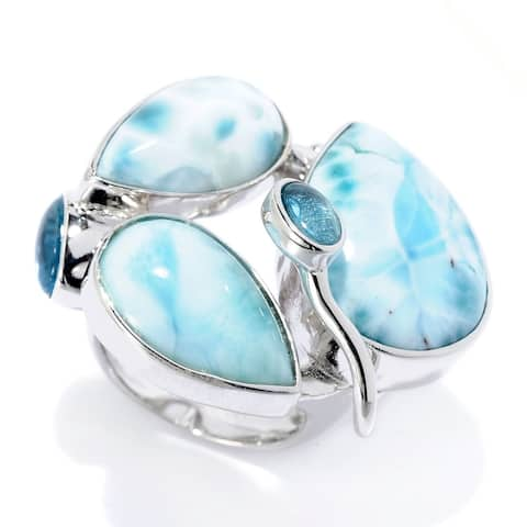 Sterling Silver Larimar & Blue Topaz Abstract Ring