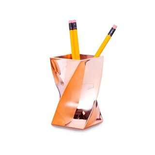 Zodaca Rose Gold Chrome Stylish Wave Design Pen Holder for Office Desktop Home Schools