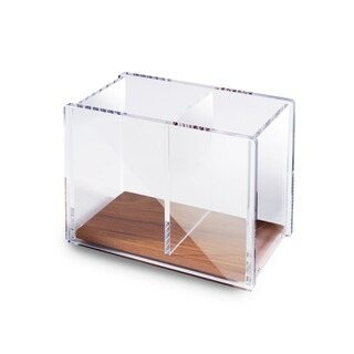Zodaca Large [2 Compartments with Wood Base] Acrylic Pencil Pen Holder for Office Desktop Schools