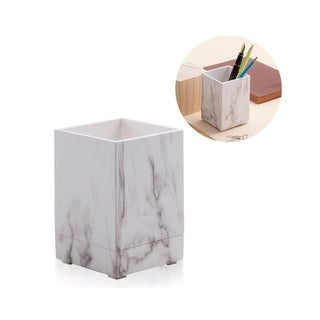 Zodaca White Marble Print Pen Holder with Matt Finish for Office Home Schools
