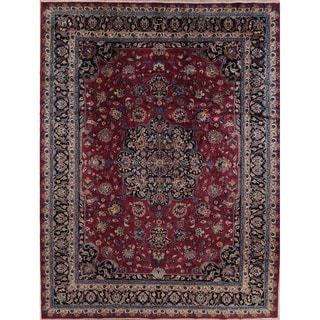 "Antique Handmade Woolen Traditional Floral Kashmar Persian Area Rug - 13'1"" x 9'10"""