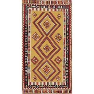 "Gracewood Hollow Rizk Woven Blend Kilim Woolen Geometric Kilim Shiraz Rug - 8'9"" x 4'11"""