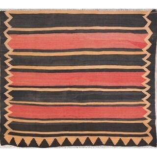 Vintage Stripe Hand Woven Wool Kilim Shiraz Persian Square Rug - 5' Square