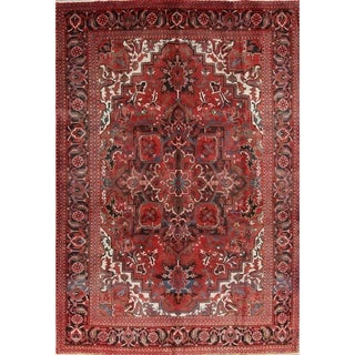 """Vintage Hand Knotted Wool Red Geometric Heriz Persian Area Rug - 10'4"""" x 7'1"""""""