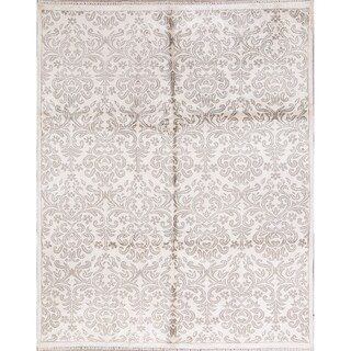 Hand Knotted Silk White Modern Oriental Area Rug For Dining Room - 9' 6'' x 7' 10''