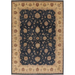 """Hand Made Woolen Navy Blue Floral Oushak Oriental Dining Room Area Rug - 13'6"""" x 9'11"""""""