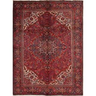 """Handmade Woolen Red Oriental Heriz Persian Area Rug For Living Room - 9'2"""" x 6'9"""""""