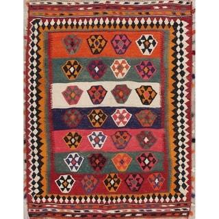 "Vintage Hand Woven Woolen Oriental Kilim Shiraz Persian Area Rug - 7'7"" x 5'9"""