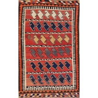 "Vintage Hand Woven Wool Oriental Kilim Shiraz Persian Area Rug - 7'7"" x 4'10"""