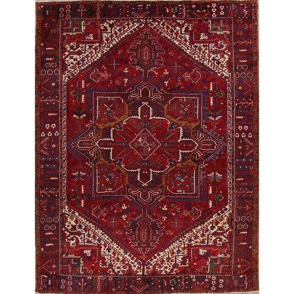 Vintage Hand Knotted Geometric Heriz Serapi Persian Wool Area Rug 13 X27 0