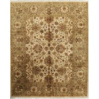 Hand Knotted Wool Floral Oushak Agra Indian Oriental Area Rug - 9' 11'' x 8' 0''