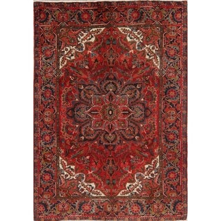 """Hand Knotted Woolen Geometric Heriz Persian Dining Room Area Rug - 9'8"""" x 6'10"""""""