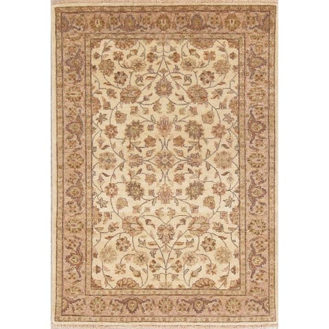 """Hand Knotted Wool Floral Agra Indian Oriental Area Rug For Foyer - 5'9"""" x 4'1"""""""